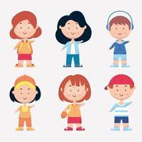 Set of ethnic diversity people in cartoon character vector