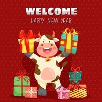 Happy new year with cow character smiling Holiday banner, web poster, flyer, stylish brochure, greeting card. Xmas background vector