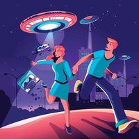 Couple Runaway from UFO Invasion in the City vector