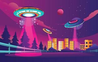 Beautiful of UFO Invasion in the City Multicolored Background vector