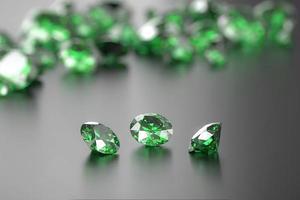 Green Diamond Group on Glossy Background Soft Focus 3d illustration photo