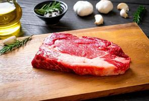 Fresh raw beef steak or raw meat photo