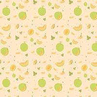 Melon Fruit Seamless Pattern vector
