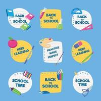 School Suplies Badges Set vector