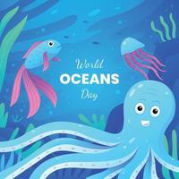 World Oceans Day Activism vector