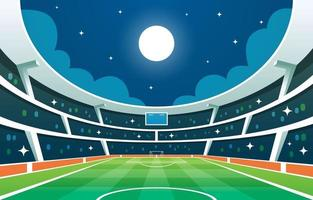 estadio de fútbol en el fondo de la noche vector