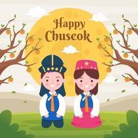 feliz festival chuseok en corea vector