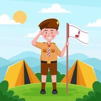 Indonesian Pramuka Outdoor Camping vector