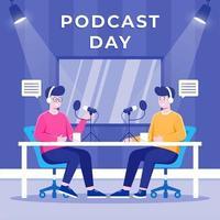 People Recording Audio Podcast vector