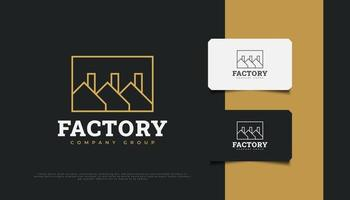Factory Building Logo Design. Modern Industrial Logo vector