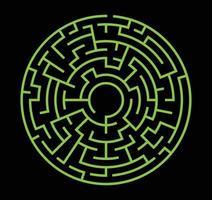 laberinto para niños. laberinto de círculo abstracto. encuentra el camino hacia el regalo. juego para niños. rompecabezas para niños. enigma del laberinto. Ilustración de vector plano aislado sobre fondo blanco. vector libre