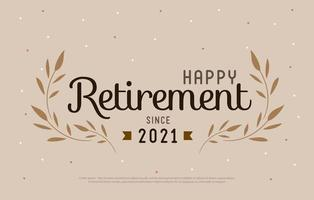 Happy Retirement Party 2021. Elegant logo design and  leaf decorated vintage style. vector