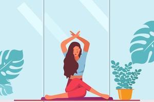Woman meditating on floor. Concept illustration for yoga, meditation, healthy lifestyle. Vector illustration in flat cartoon style