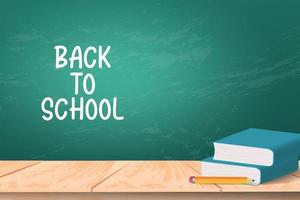 back to school background with book and pencil over blackboard. vector