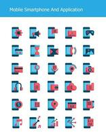flat mobile smartphone technology icons vector