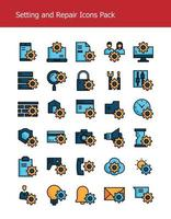 setting and repair filled outline vector