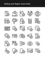 setting and repair simple line icon pack vector