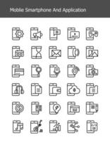simple line mobile smartphone technology icons vector