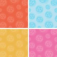 Set of abstract circles spin pattern multicolor background vector