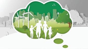 Paper folding art origami style vector illustration. Abstract design green sustainable energy development, environment friendly concept, happy family is walking in a park in the thinking box