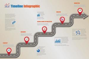 Plantilla de infografía de línea de tiempo de hoja de ruta de negocios con punteros diseñados para hito de fondo abstracto tecnología de proceso de diagrama moderno ilustración de vector de gráfico de presentación de datos de marketing digital