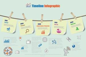 Design template, Timeline Infographic report template hanging on a rope with clothespin, Vector illustration