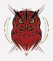 logotipo de búho con símbolo sagrado vector