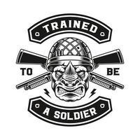 una ilustración vectorial de un diseño de camiseta de soldado rinoceronte. vector