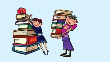 Happy School Kids Book Make up vector clipart Free image