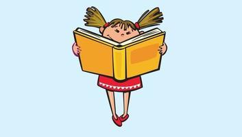 Happy School Kids Reading book Free Vector