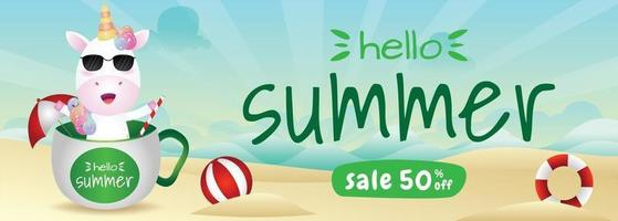 summer sale banner with a cute unicorn in the cup vector
