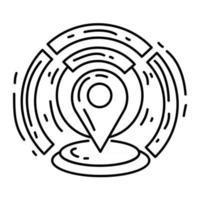 icono de ubicación geográfica de comercio electrónico. conjunto de iconos dibujados a mano, contorno negro, icono de doodle, icono de vector