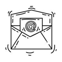 icono de correo electrónico de comercio electrónico. conjunto de iconos dibujados a mano, contorno negro, icono de doodle, icono de vector