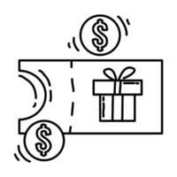E-commerce voucher. hand drawn icon set, outline black, doodle icon, vector icon