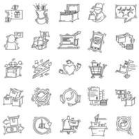 E-commerce . hand drawn icon set, outline black, doodle icon, vector icon