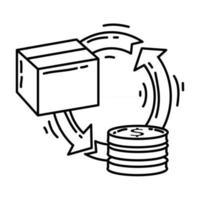 E-commerce refund. hand drawn icon set, outline black, doodle icon, vector icon