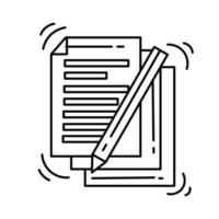 icono de documento de comercio electrónico. conjunto de iconos dibujados a mano, contorno negro, icono de doodle, icono de vector