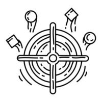 objetivo de comercio electrónico. conjunto de iconos dibujados a mano, contorno negro, icono de doodle, icono de vector