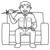 El personaje de papá que es piloto sostiene un avión de juguete mientras está sentado en el sofá. color blanco y negro. Ilustración de libro para colorear. vector