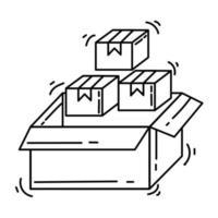 E-commerce icon inventory . hand drawn icon set, outline black, doodle icon, vector icon