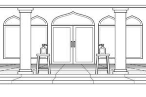 The Courtyard of The Mosque With Hand Sanitizer in Front of The Door. Vector. Coloring Book. vector
