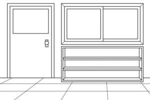 Empty School Hallway Background During Pandemic. Coloring Book. Vector Illustration.