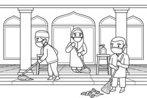 Children Cleaning the Mosque Yard Wearing Face Masks. Vector. Coloring Book. vector