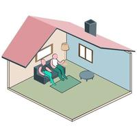Isometric Home and living room vector
