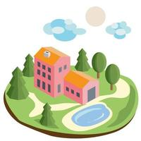 Isometric Building and Green Landscape vector