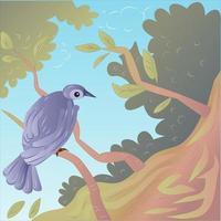 Bird on a Branch Illustration vector