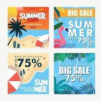 vector de colección de post de venta de verano de fin de temporada