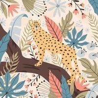 Tropical cheetah background, hand drawn illustrations. vector