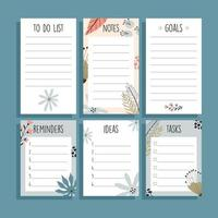Set of six paper notes, with tropical hand drawn illustrations. vector