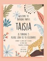 Birthday party invite template. Tropical cheetah background, hand drawn illustrations. vector